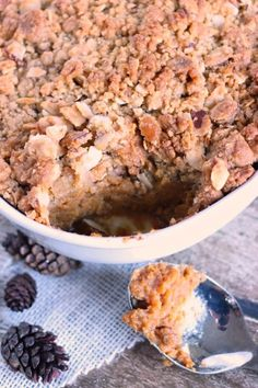 This easy Sweet Potato Casserole Recipe was a staple at our holiday dinners growing up. It's simple to make and will please even the pickiest eaters.