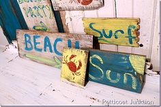 DIY signs: beach inspired signs from reclaimed wood petticoat junktion Sisal, Beach Wood Signs, Beach Crafts, Diy Craft Projects, Wood Projects, Craft Ideas, Diy Ideas, Wood Ideas, Pallet Ideas