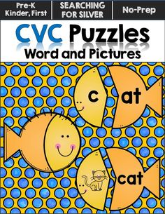 Cute little fish CVC word and picture puzzles!