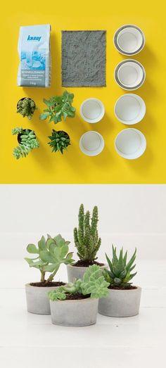 diy - cement plant pots that I would want to paint. Concrete Pots, Concrete Design, Concrete Planters, Concrete Crafts, Concrete Projects, Diy Projects, Decoration Plante, Ideias Diy, Potted Plants