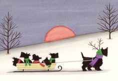 Christmas cards: Scottish terrier scottie by watercolorqueen