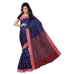 Maroon With Ink blue Handloom cotton saree from Sambalpur. This saree was made by pure cotton thread. This saree is perfect for summerwear & officewear.