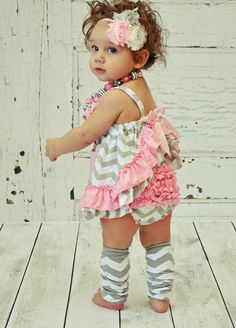 Pink and Grey Chevron Baby Toddler Infant Clothes Outfit Swing Set Summer Ruffles Bloomers