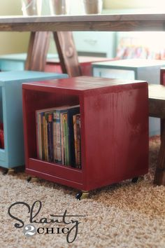 Rolling Storage Cube Stools {this is exactly (well, w/o the rolling part) what Ryan suggested for Braddock's toddler bed... making a bunch of these cubes then placing crib mattress on top... that way it can convert to WHATEVER in the future (extra seating, stackable shelves, seats for littles - the possibilities are endless)!}