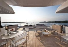 One of the large decks aboard superyacht South - Fraser Yachts