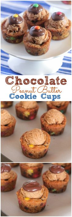 These Chocolate Peanut Butter Cookie Cups are pure Joy! Full of all of our favorite ingredients, these little sweet cups are sure to put a… (Peanut Butter Brownies) Cookie Cups, Cookie Desserts, Just Desserts, Cookie Recipes, Delicious Desserts, Dessert Recipes, Yummy Food, Frosting Recipes, Healthy Desserts