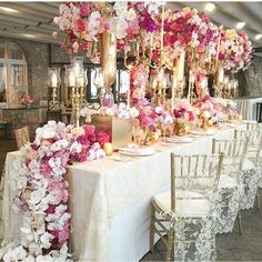 Gorgeous + luxurious tablescape! Love the color combination! Pic via @cristinaredesign event by @karentranevents #inspiration #tablescape #luxury #events #pink #gold #interiordesign #lace #decorideas #storybookbliss #glam #posh