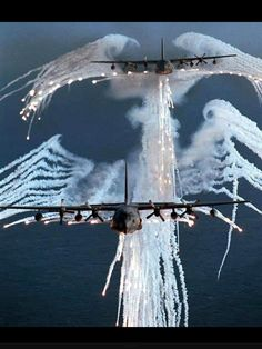 C130s firing their flares. Aka Angel of Death. USA Air Force