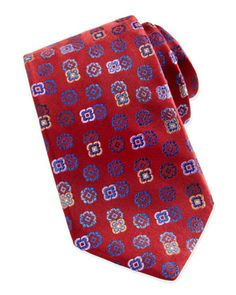 Tossed-Florette+Silk+Tie,+Red++by+Robert+Graham+at+Neiman+Marcus.