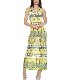 Another great find on #zulily! Yellow & Gray Shift Maxi Dress by Deals Wholesale #zulilyfinds