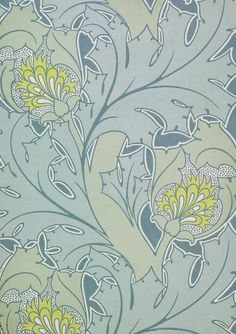 The Iolanthe, wallpaper. C.F.A. Voysey/Essex & Co. Color woodblock print on paper. UK, c. 1897