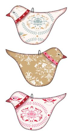 bird ornaments  ~~4.3 x 7 cm. With the adhesive on the back and small wire ring for hanging/