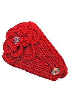 Wide Knit Headband With Rhinestone Flower