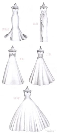 Discover the right wedding dress style for your body! Via Burnett's Boards and Audrey of FromWhite