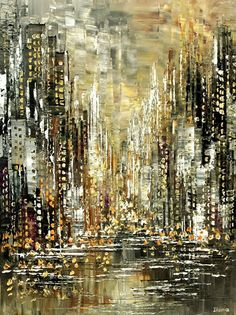 Abstract Cityscape Painting Skyline Urban City Waterdront Original Palette Knife handmade by Tatiana Iliina - Made to order