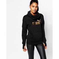 Puma Gold Logo Hooded Sweatshirt ($54) ❤ liked on Polyvore featuring tops, hoodies, black, cotton hoodies, oversized hoodies, cotton sweat shirts, black hooded sweatshirt и sweatshirt hoodies