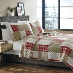 Add this colorful and luxurious quilted set to your home for a touch of nostalgic style and comfort. This 100-percent cotton quilt will soften with time and you will appreciate the reversible feature to keep it fresh and variable from season to season.