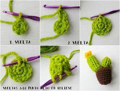 Tutorial: cactus nopal con flores (amigurumi cactus - Her Crochet Cactus En Crochet, Art Au Crochet, Kawaii Crochet, Crochet Diy, Crochet Flowers, Stuffed Animals, Crochet Stitches, Crochet Patterns, Amigurumi For Beginners