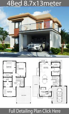 Home design plan with 4 Bedrooms - Home Ideas - House Architecture House Plans 2 Storey, 2 Storey House Design, My House Plans, Duplex House Plans, Small House Design, Bungalow Floor Plans, Home Design Floor Plans, House Construction Plan, Small Modern House Plans