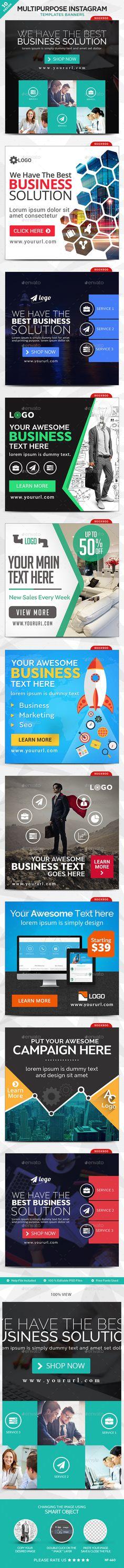 Multipurpose Instagram Templates - 10 Designs #design #ads Download: http://graphicriver.net/item/multipurpose-instagram-templates-10-designs/12959710?ref=ksioks