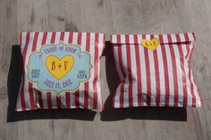Seaside, funfair sweet bag favour and sticker from the wedding stationary range by Dottie Creations www.dottiecreations.com