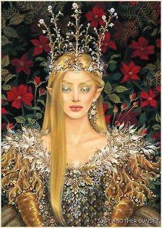 Maxine Gadd Fairy Faery Print Retired ELF QUEEN Bride Fae Crown Royalty Gold Gem