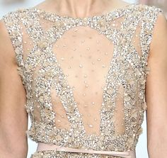 sheer and nude beaded gown