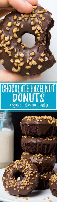 """These vegan chocolate hazelnut donuts are one of my all-time favorite vegan baking recipes! They taste just like """"Nutella"""" donuts. SO good! Vegan donuts at their best! They make such a great vegan dessert. Big YUM!! <3 