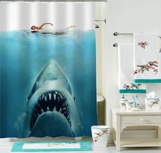 Jaws Shark Parody Curtain Shower Available 4 Size By Demakgaul