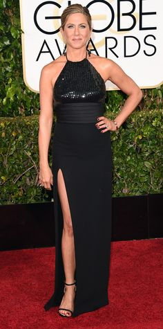 Golden Globes 2015: Red Carpet Arrivals - Jennifer Aniston in Saint Laurent by Hedi Slimane and Neil Lane jewels.