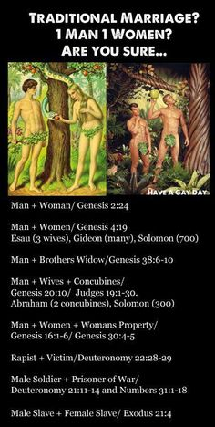 For those who think It's only 1 man and 1 woman. (Not to mention the Bible implies incest is ok not once but twice-creation story and Noah's ark) Atheist Agnostic, Religious Text, Anti Religion, Bible Truth, Bible Scriptures, Thought Provoking, Wise Words, Humor, Christianity