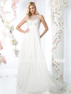 A-Line Jewel-Neck Sleeveless Empire Chiffon Keyhole Dress With Beading