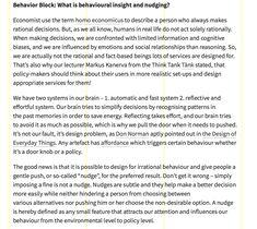 BLOG: Behaviour Economics + Nudge / Käyttäytymistiteet ja tuuppaaminen / Behavior Block Design for Government -kurssilla 2015
