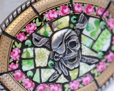 Mosaic belt buckle pirate, pink roses