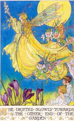 She Drifted Slowly!  Lemony Yellow Vintage Fairy Illustration. Fairy Digital Download. Vintage Digital PRINT. Perfect to Frame