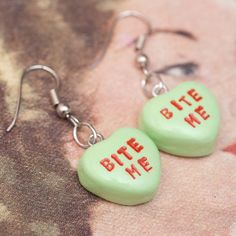 Earrings  Sweetheart Candy Anti Valentines Day Pastel by roscata, $32.00