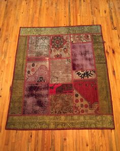 Patchwork Turkish Carpet  Handmade Vintage Item by RugToGo on Etsy