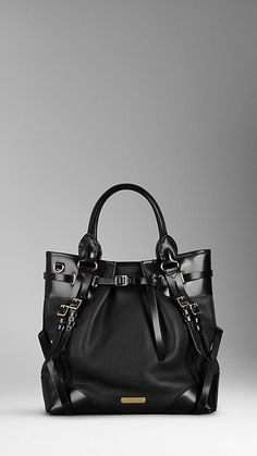 Burberry Large Leather Whipstitch Tote Bag