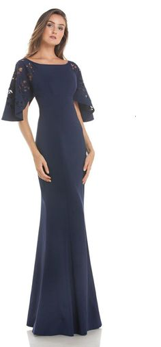 c51631cb KAY UNGER NEW YORK BLUE SHORT SLEEVE FITTED STRETCH SATIN EVENING GOWN.  #kayunger #cloth #