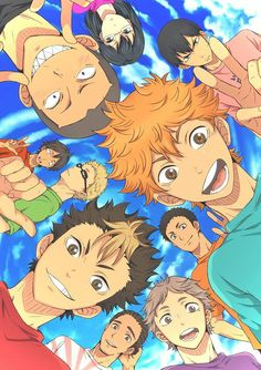 Haikyuu!! ~~ Karasuno team selfie in anime style