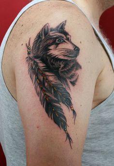 Indianer Style Wolf Tattoo - 55 Wolf Tattoo Designs  <3 <3