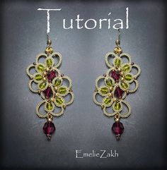 PDF Tatting Pattern Irada Earrings Instant Download by Emeliebeads