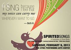 Spirited Songs: A Celebration of Choral Music. Fox Cities PAC. Show information>http://foxcitiespac.com/events/spirited-songs)