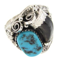 Navajo Turquoise And Badger Claw Ring Size 12 OS58381