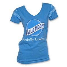 Blue Moon Women's Deep V Blue Shirt - Blue