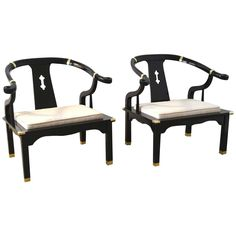 Attirant Pair Of Hollywood Regency Asian Inspired Club Chairs