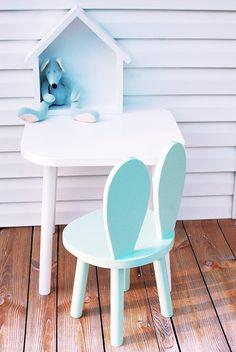www.bambooko.eu Baby set - bunny chair and table Handmade scandinavian style  100% wood