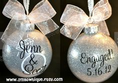 Christmas Gifts for the Engaged Couple:  Personalized Glitter Engagement Tree Ornament by 2M Bowtique @ Etsy
