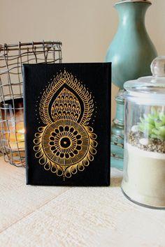 Henna Art Canvas,Holiday Gift,Stocking Stuffer,Wedding Gift,Mini Art,Unique Art,Golden Home Decor,Black Home Decor $34.99 by LavenderHenna #etsy #etsyusa #lavenderhenna