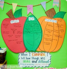 Comparing Apples & Pumpkins Venn Diagram (how are they the same & how are the different) - Higher Level thinking! First Grade Science, Kindergarten Science, Teaching Science, Preschool Curriculum, Kindergarten Reading, Kindergarten Classroom, Teaching Ideas, Classroom Fun, Science Classroom
